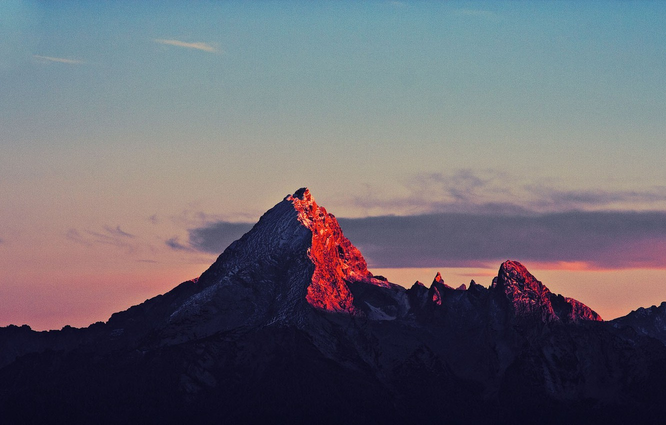 Photo wallpaper the sky, clouds, sunset, mountains, nature, rocks, the evening