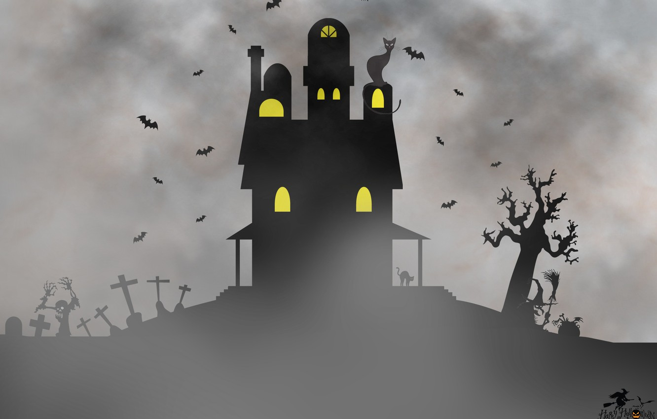 Photo wallpaper house, Halloween, picture