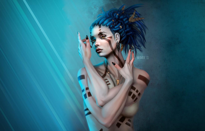 Photo wallpaper Girl, Figure, Tattoo, Art, Art, Oboro, madeinkipish, Medaya, To nastas, by Medaya, by Nastas'ya, COMMISSION: …