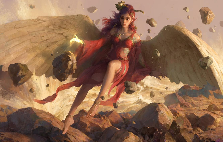 Photo wallpaper girl, stones, wings, angel, fantasy, art