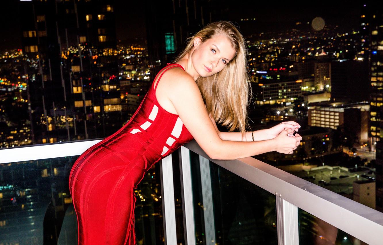 Photo wallpaper city, girl, long hair, night, model, face, blonde, pornstar, red dress, balcony, tight dress, My …