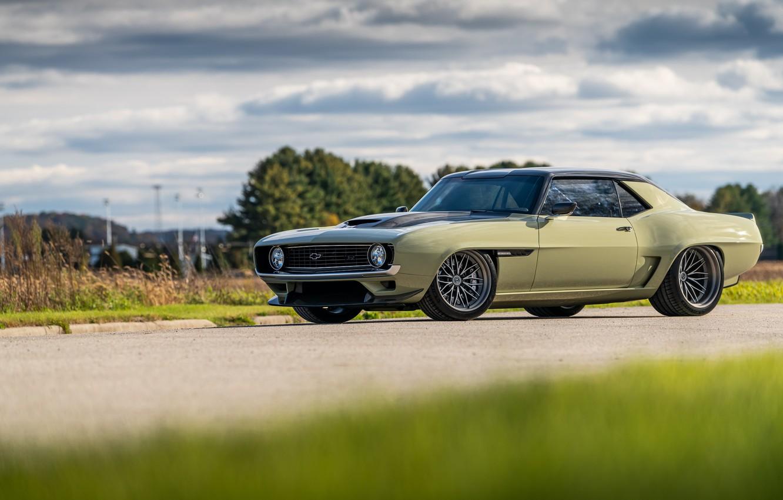 Photo wallpaper Road, Grass, Trees, Chevrolet, 1969, Camaro, Drives, Chevrolet Camaro, Muscle car, Classic car, Wide Body …
