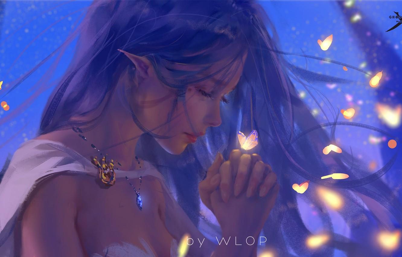 Photo wallpaper girl, fantasy, long hair, butterfly, elf, digital art, artwork, princess, fantasy art, necklace, closed eyes, …