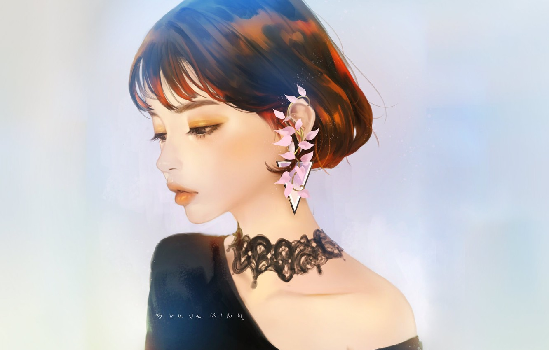 Photo wallpaper face, haircut, sponge, Asian, earring, blue background, in profile, portrait of a girl, chalker, neck …