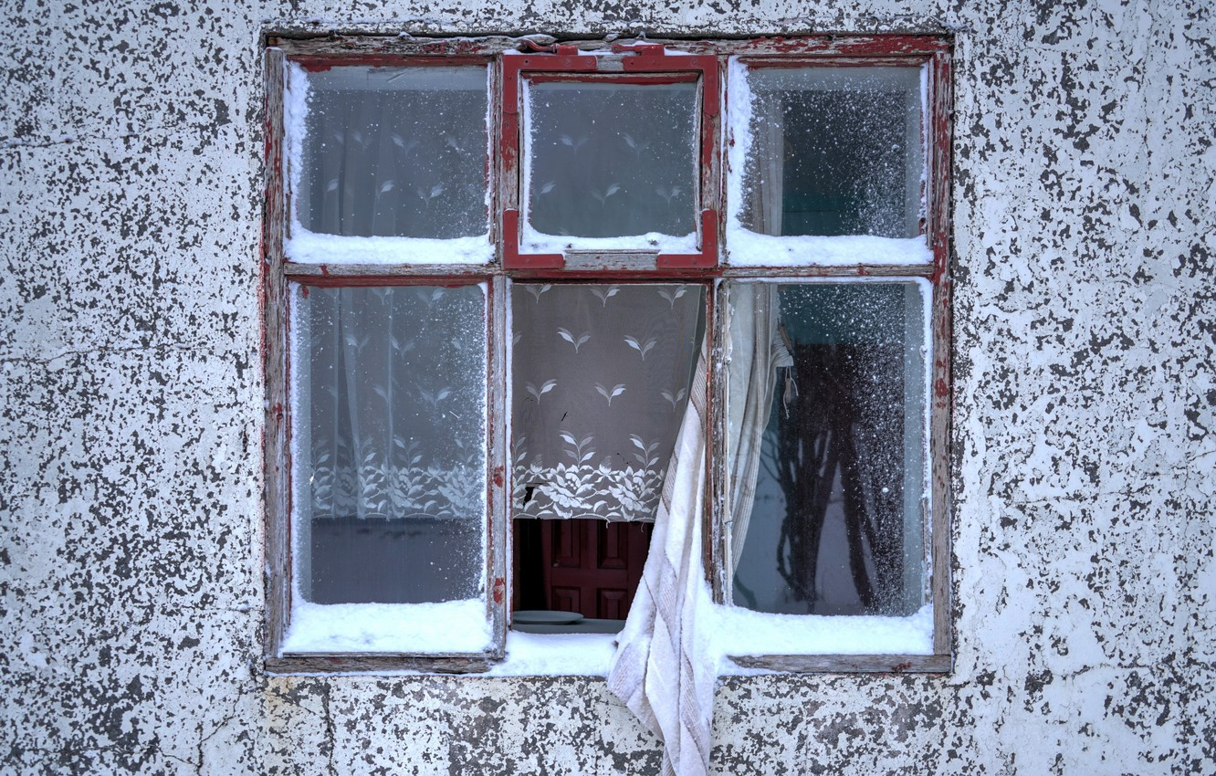 Photo wallpaper house, wall, window, curtains