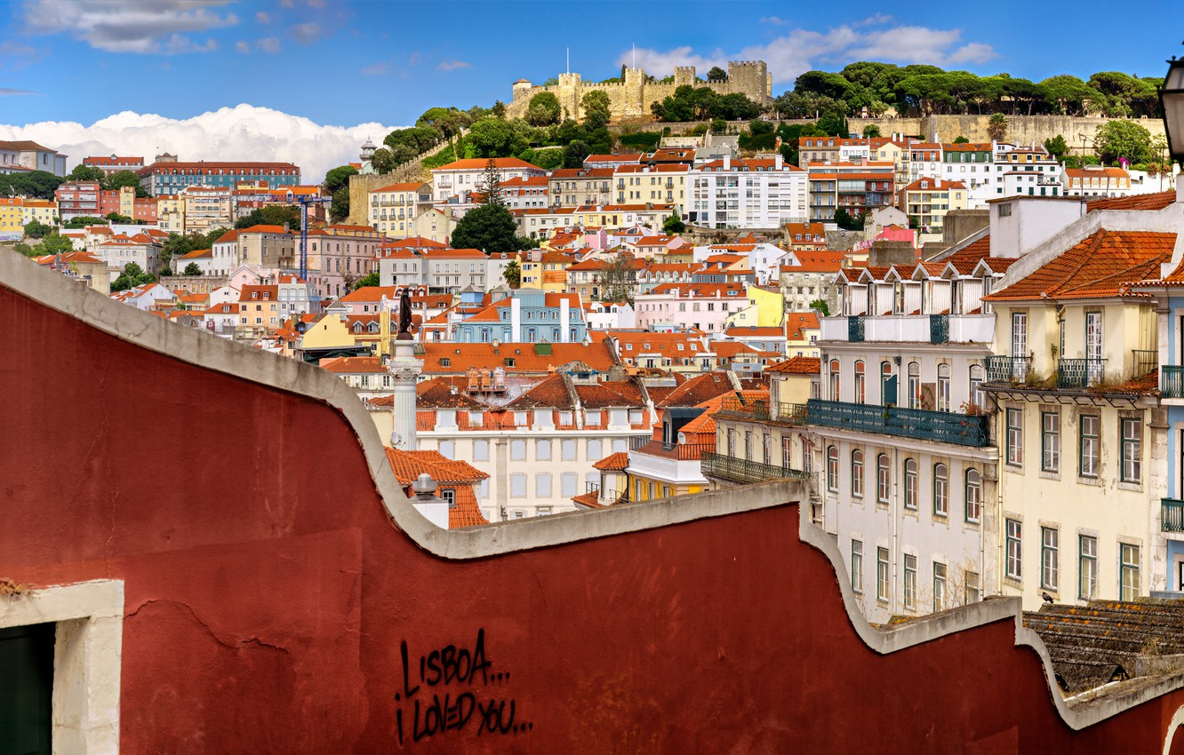 Photo wallpaper wall, building, home, panorama, Portugal, Lisbon, Portugal, Lisbon