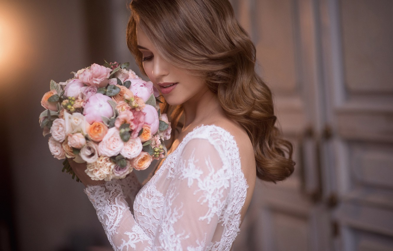 Photo wallpaper girl, flowers, style, hair, bouquet, the bride, curls, Natalia Magicka, Ksenia Aleksandrova