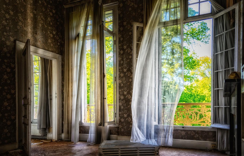 Photo wallpaper greens, summer, light, trees, garbage, the wind, Wallpaper, wall, Windows, interior, the door, floor, curtains, …
