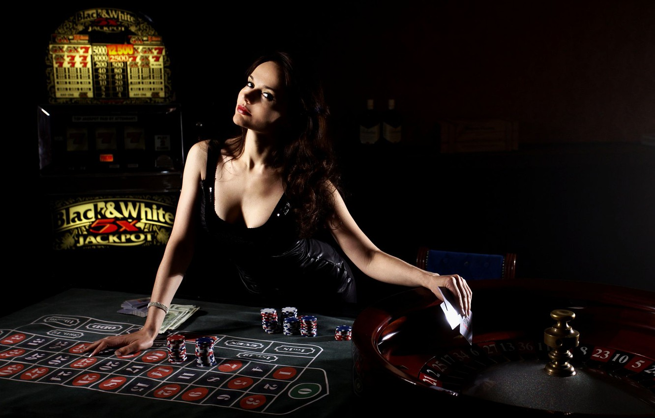 Photo wallpaper card, girl, casino