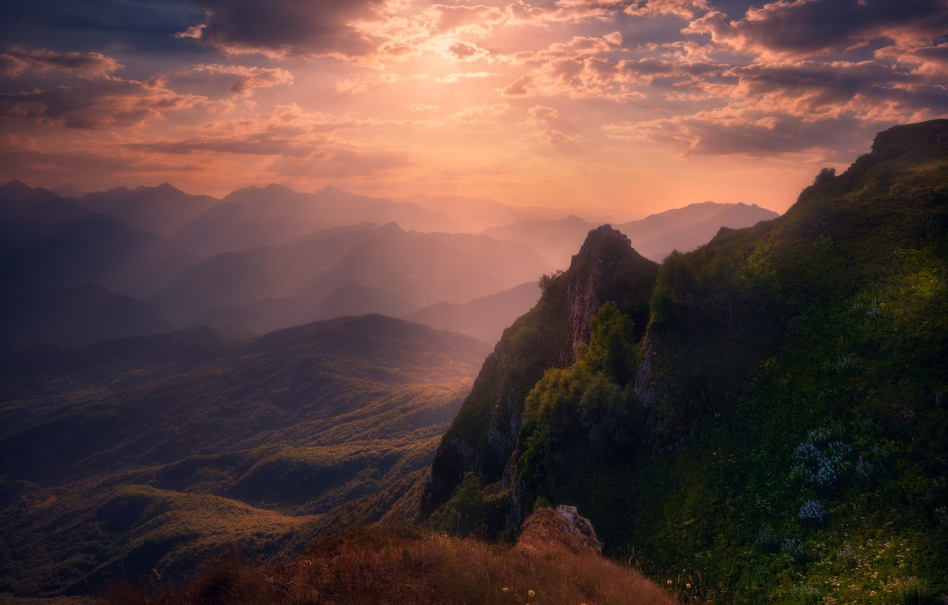 Photo wallpaper the sky, clouds, sunset, mountains, valley, verbal