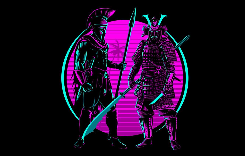 Photo wallpaper retro, neon, samurai, Spartan