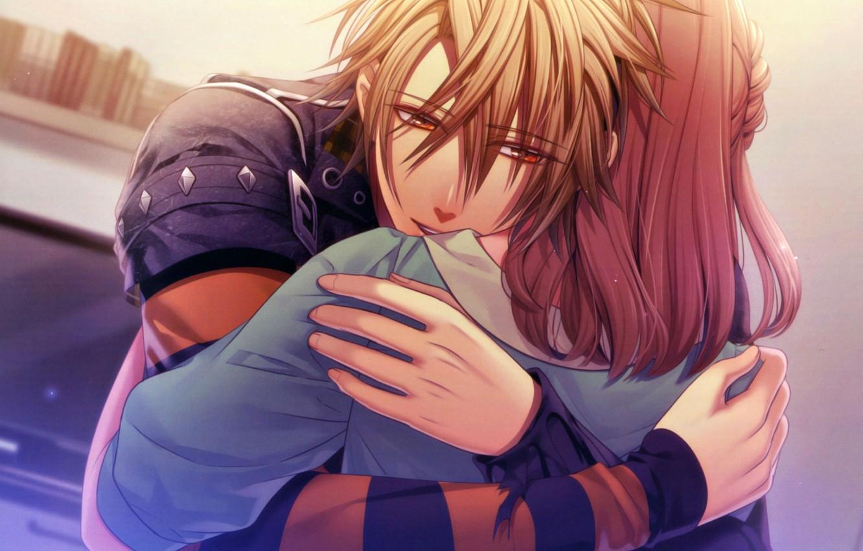 Photo wallpaper hugs, Amnesia, Amnesia, Heroine, Toma, Hanamura Mai, the guy with the girl