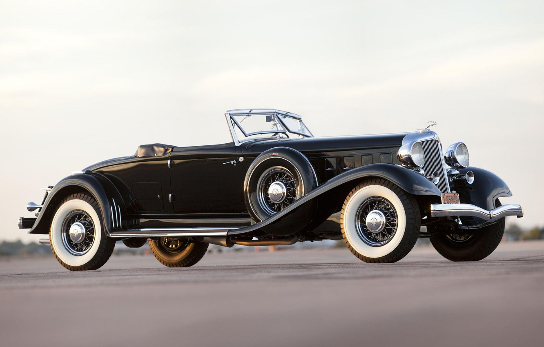 Photo wallpaper Roadster, black, retro, Convertible, Chrysler Custom Imperial