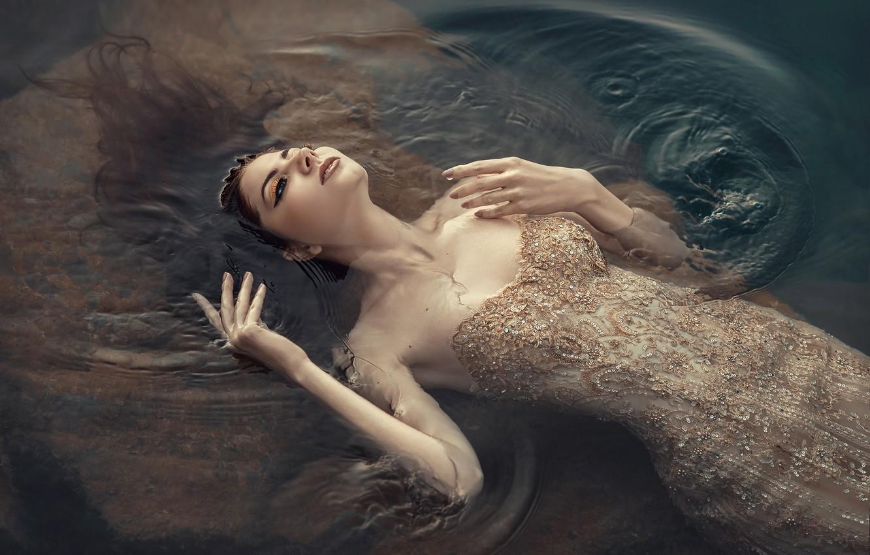 Photo wallpaper water, girl, pose, the situation, hands, dress, neckline, Julia Tagashova, Valery Shevchenko