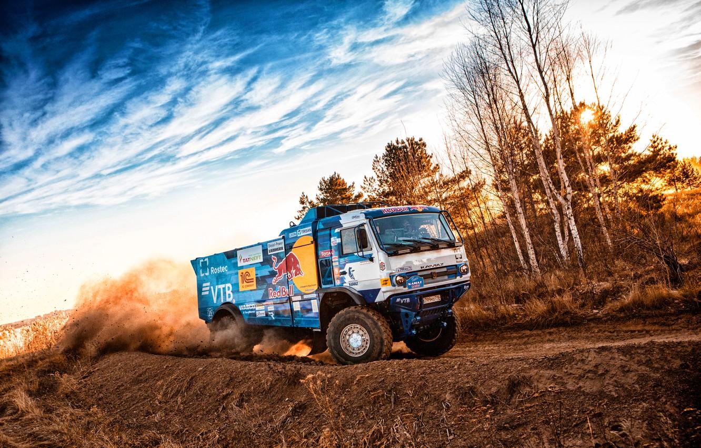 Photo wallpaper Sunset, Sport, Machine, Speed, Truck, Race, Master, Russia, Blik, Kamaz, Rally, Dakar, KAMAZ-master, Dakar, Rally, …