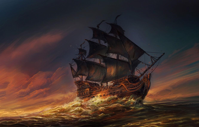 Photo wallpaper The ocean, Sea, Wave, Ship, Sails, Sunset, Ocean, Illustration, Sea, Ship, Waves, Sails, At Sea, …