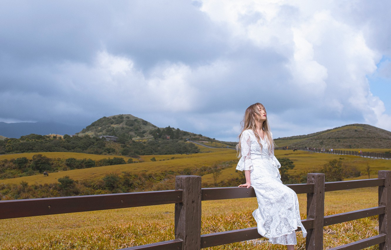 Photo wallpaper field, girl, mountains, nature, mood, relax, the fence, the situation, Asian, sitting, white dress, closed …