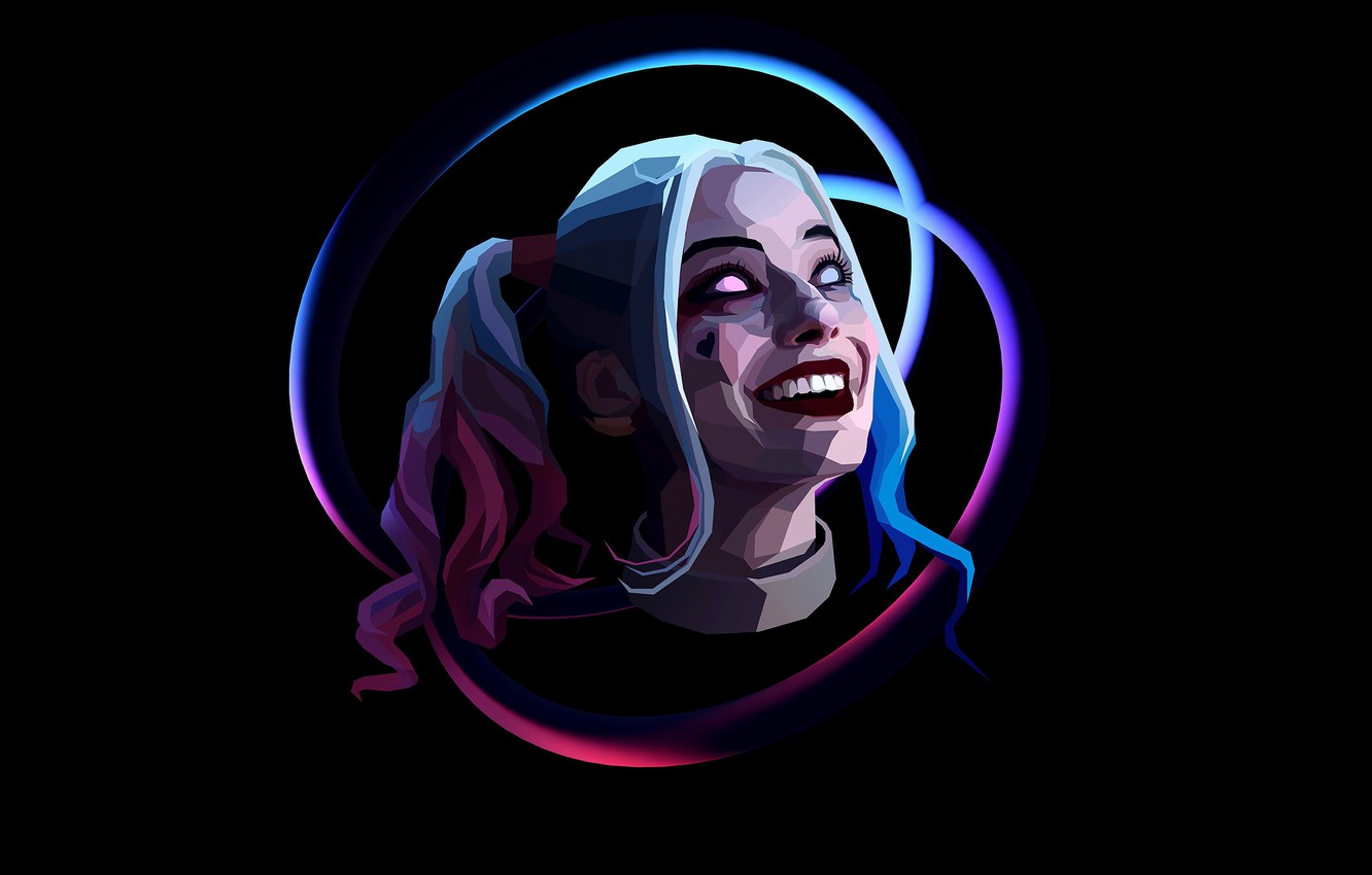 Photo wallpaper girl, art, blonde, braids, black background, comic, Harley Quinn, Harley Quinn, Suicide Squad, Suicide squad