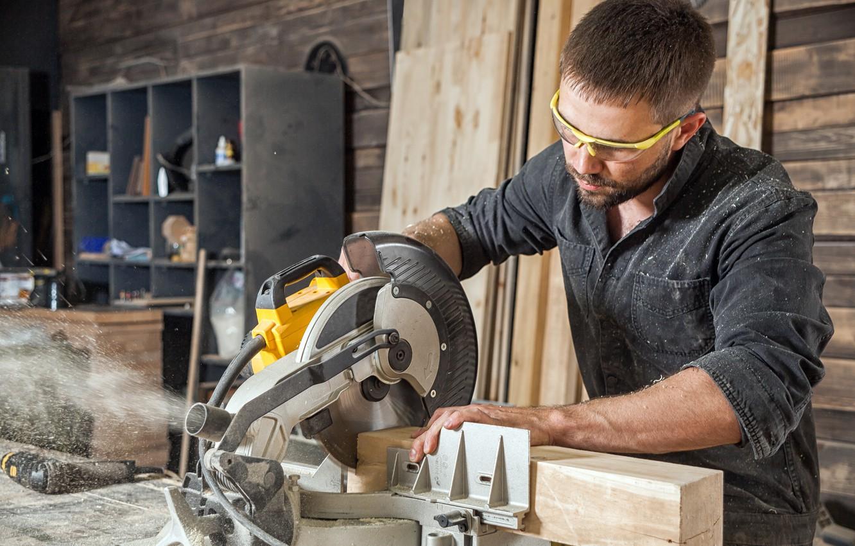 Photo wallpaper wood, carpenter, circular saw