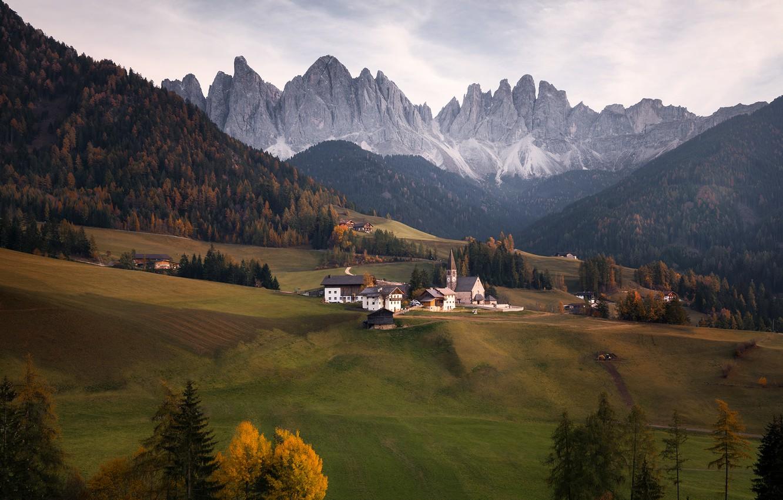 Photo wallpaper autumn, landscape, mountains, nature, home, village, Italy, Church, forest, meadows, The Dolomites, Santa Maddalena, Georgi …