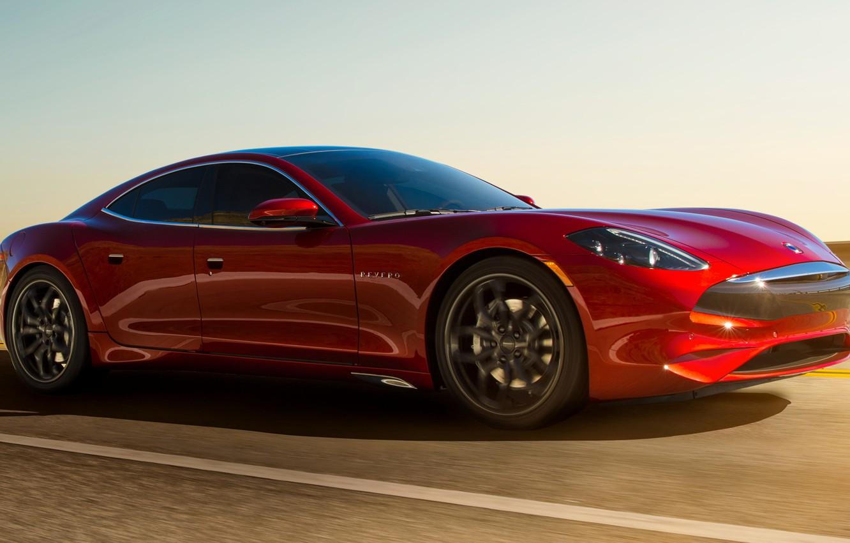 Photo wallpaper road, car, machine, background, speed, red, sedan, red, side, Karma, sports car, GT, Karma Revero …