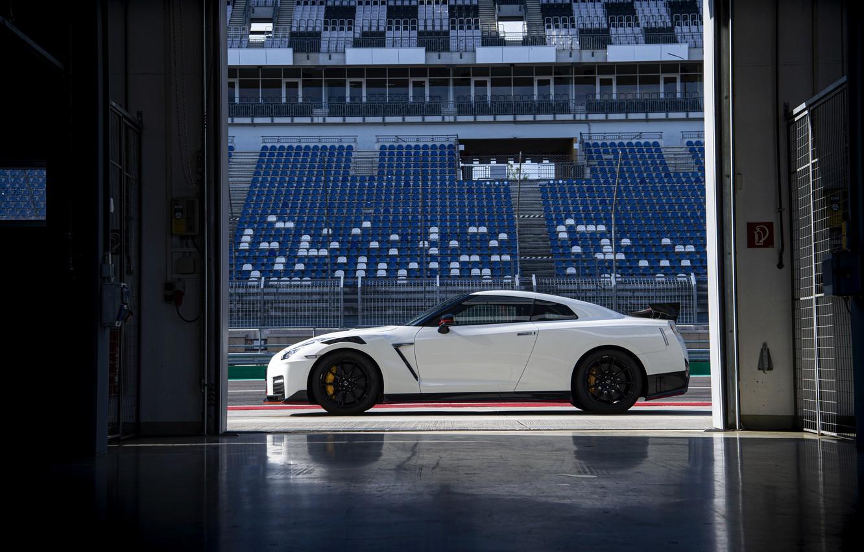 Photo wallpaper white, Nissan, GT-R, R35, in profile, Nismo, 2020, 2019