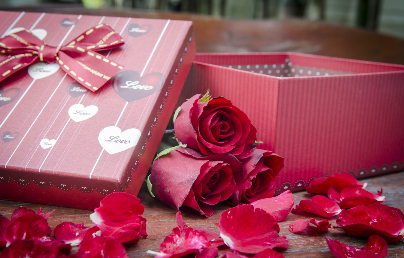 Photo wallpaper flowers, gift, roses, pink, flowers, romantic, gift, roses, pink roses, with love