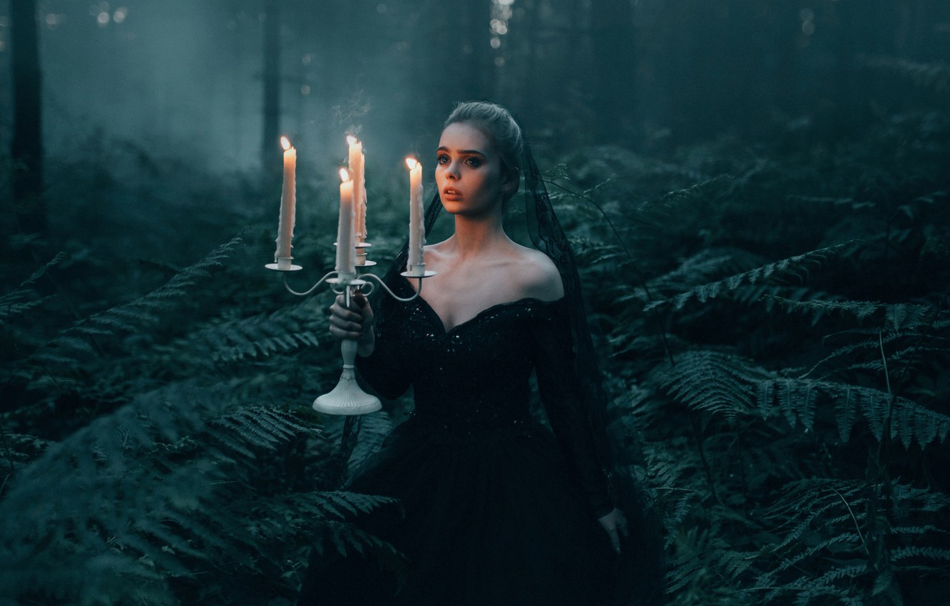 Photo wallpaper forest, girl, the situation, candles, fern, Bird Man, Pasechnik, The Black Widow