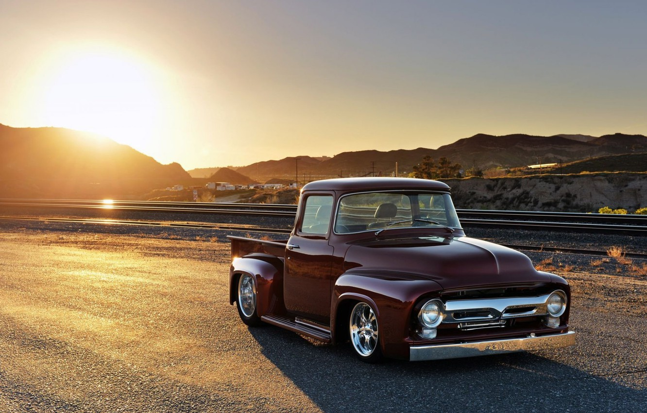 Photo wallpaper Red, Classic, Pickup, Ford F-100