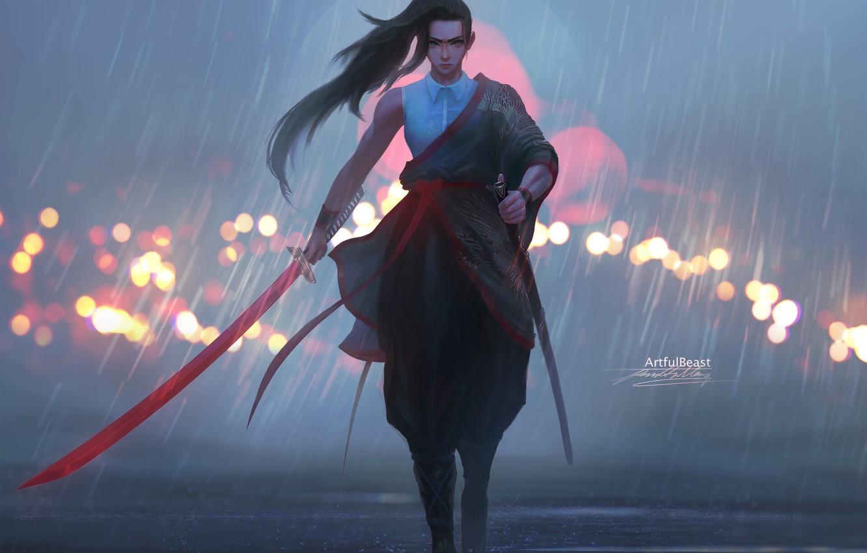 Photo wallpaper girl, sword, fantasy, rain, weapon, blue eyes, ponytail, katana, artwork, Samurai, warrior, fantasy art, fantasy …