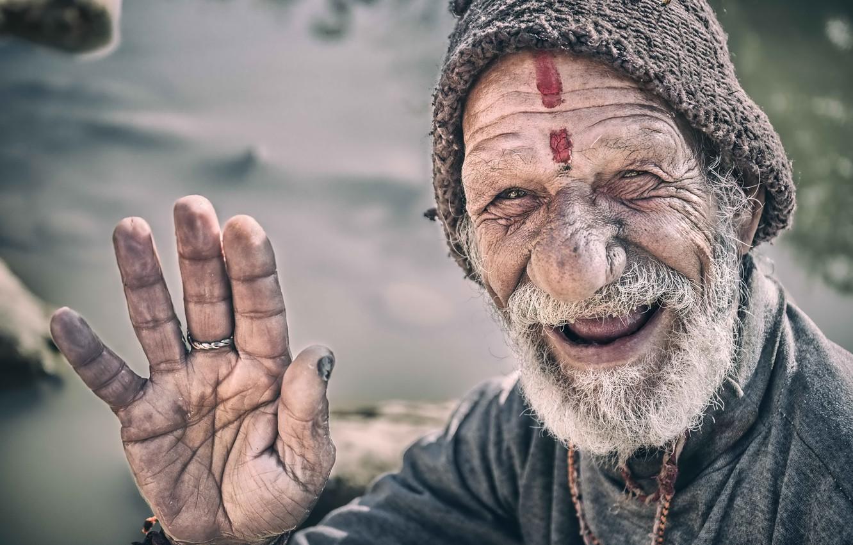 Photo wallpaper Portrait, Nepal, Kathmandu, smiling man