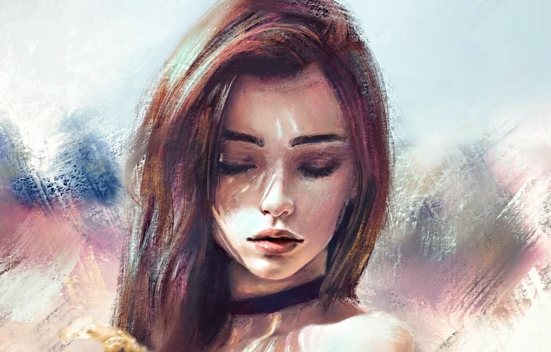 Photo wallpaper face, eyebrows, brown hair, sponge, shoulders, long hair, closed eyes, portrait of a girl, chalker, …