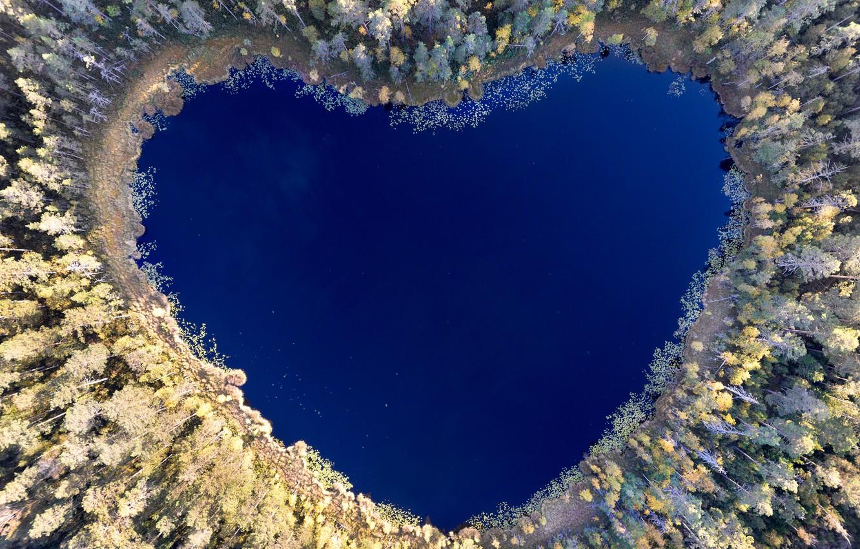 Photo wallpaper lake, reflection, heart, heart, lake, reflection, Christian Lindsten