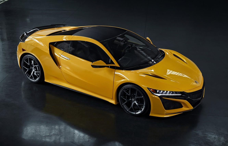 Photo wallpaper yellow, coupe, shadow, Honda, Acura, NSX, 2020