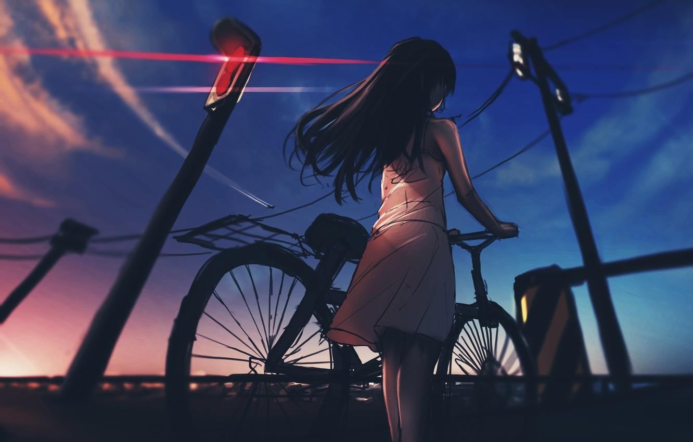 Photo wallpaper girl, anime, art, traffic light, railroad, anime, art, Railway, traffic light