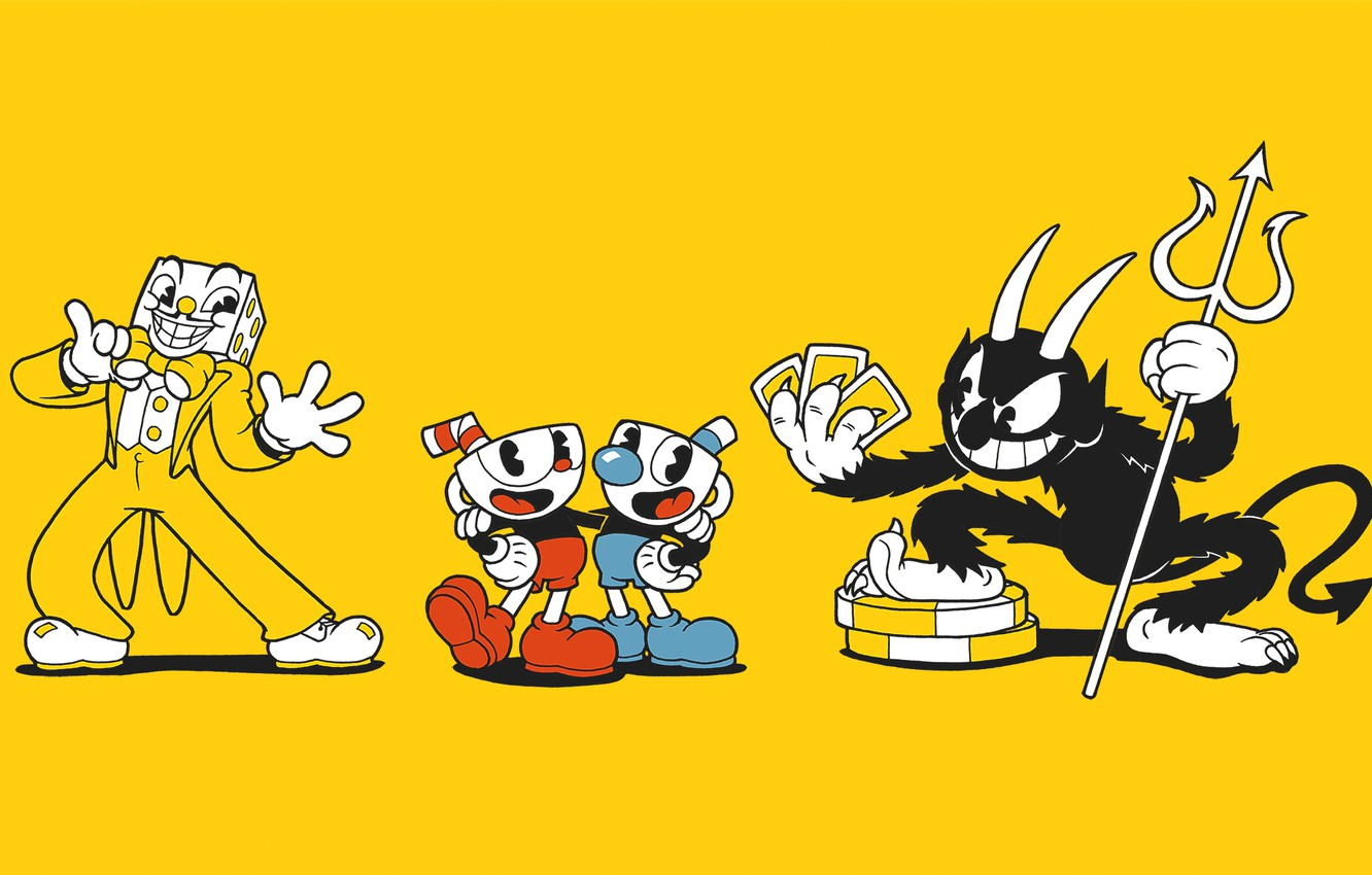 Photo wallpaper minimalism, different, toon, CASCO-voice brothers, Cuphead
