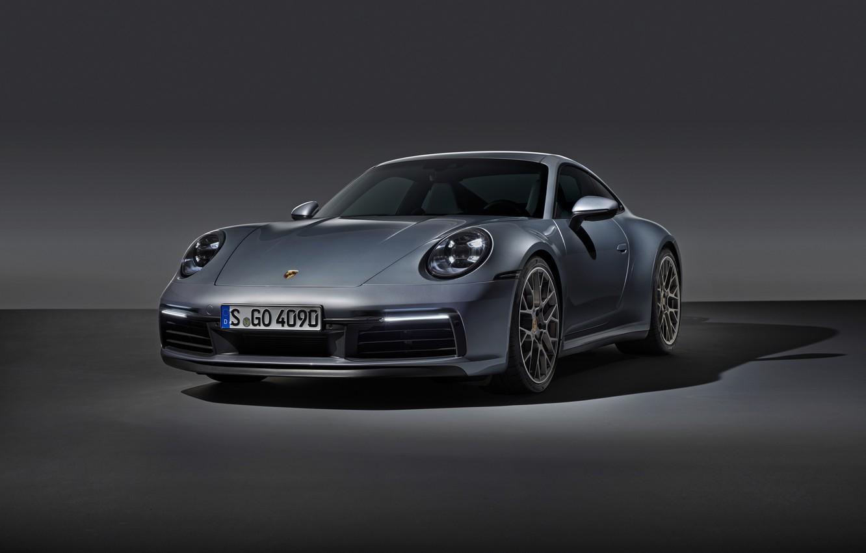 Photo wallpaper grey, background, coupe, 911, Porsche, Carrera 4S, 992, 2019