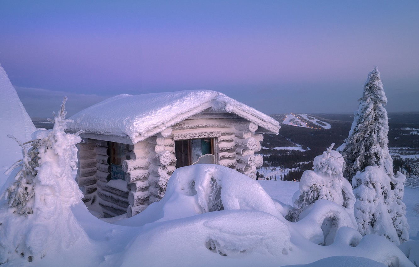 Photo wallpaper winter, snow, trees, landscape, nature, dawn, hut, morning, ate, house, Lapland, Andrey Bazanov