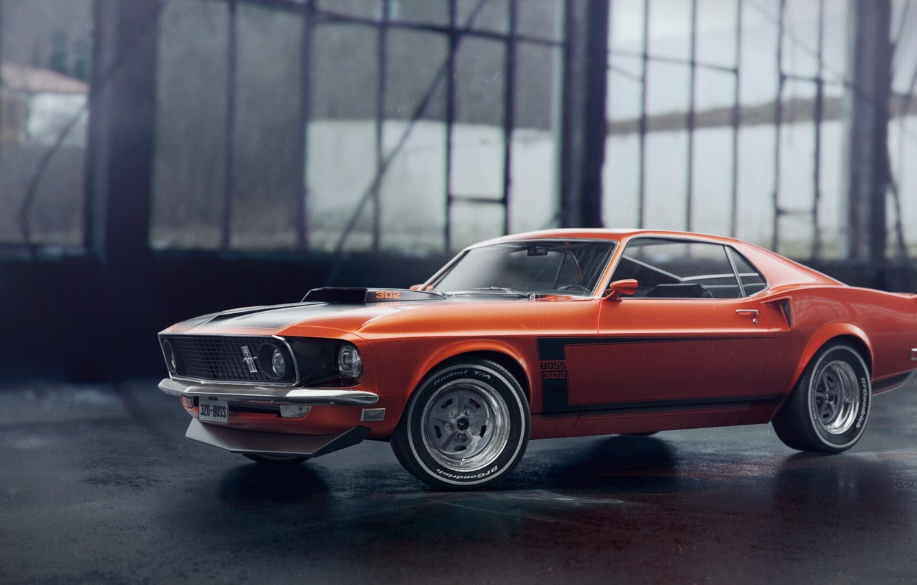 Photo wallpaper Mustang, Ford, Auto, Machine, Orange, 1969, Ford Mustang, Rendering, Transport & Vehicles, by Eric Obregón, …