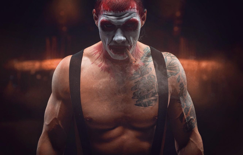 Photo wallpaper clown, tattoo, cigar, makeup, braces, Sergey Stepanov