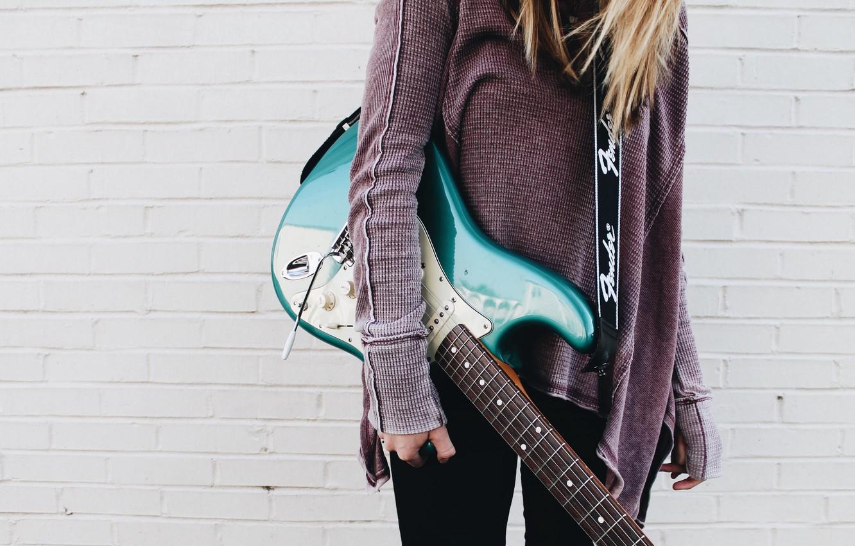 Photo wallpaper music, girl, guitar, girls, blue, strings, musician, musical instrument, electric guitar, 4k ultra hd background