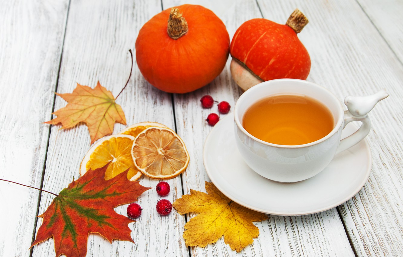 Photo wallpaper autumn, leaves, colorful, autumn, leaves, cup, tea, maple, Cup of tea