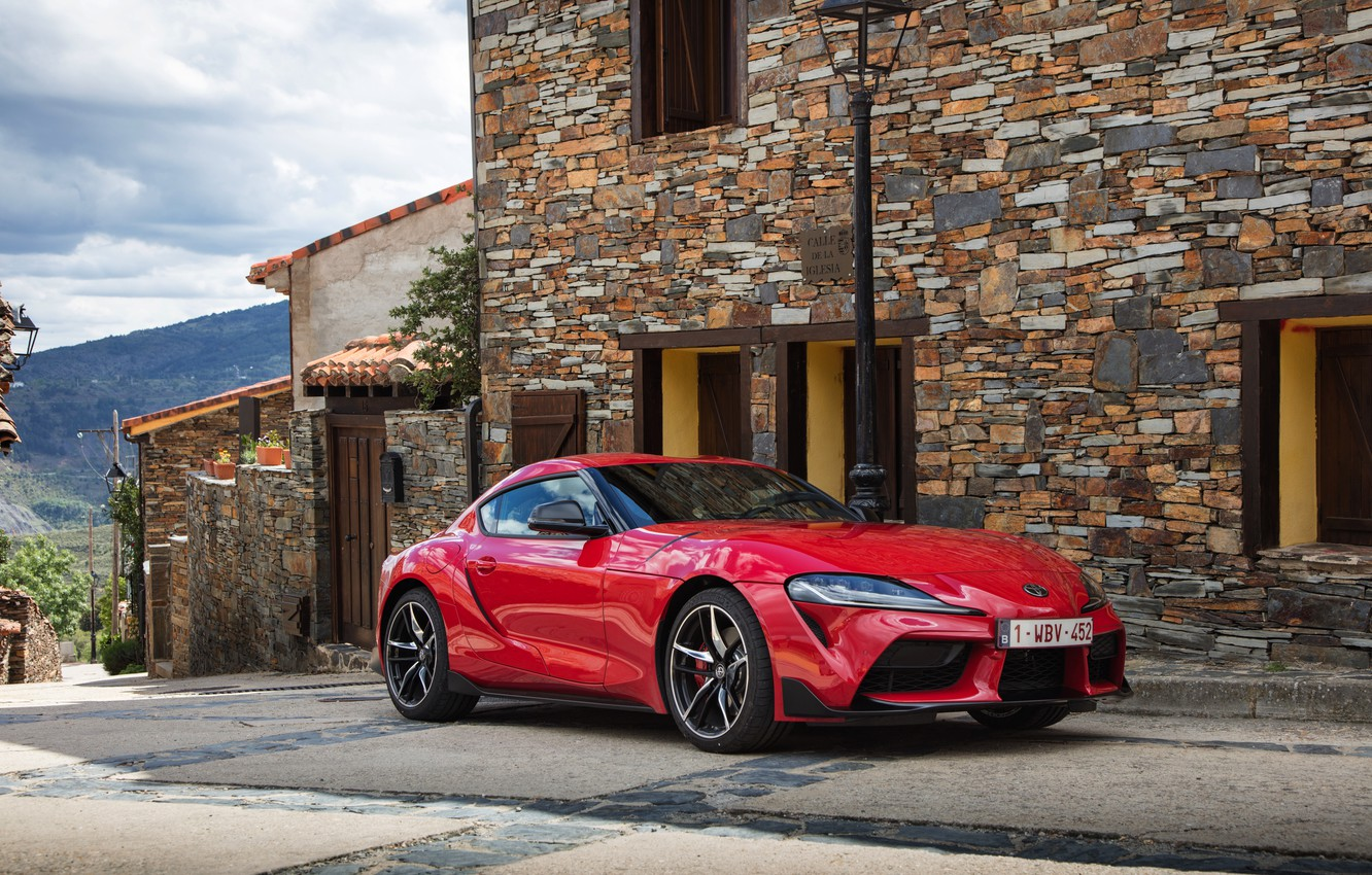 Photo wallpaper street, coupe, Toyota, Supra, the fifth generation, mk5, double, 2019, GR Above, A90, Gazoo Racing, …