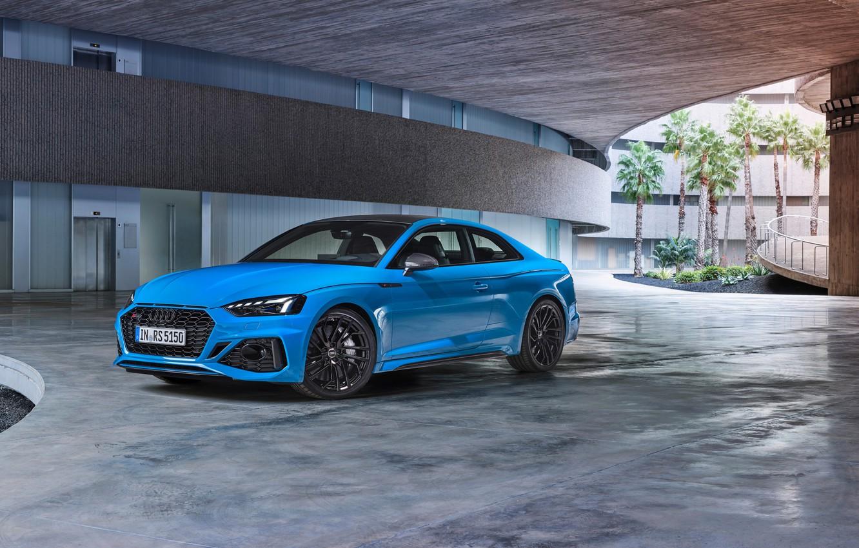 Photo wallpaper car, machine, Audi, lights, the building, RS5, blue, wheel, coupe, blue car, Audi RS5, sports …