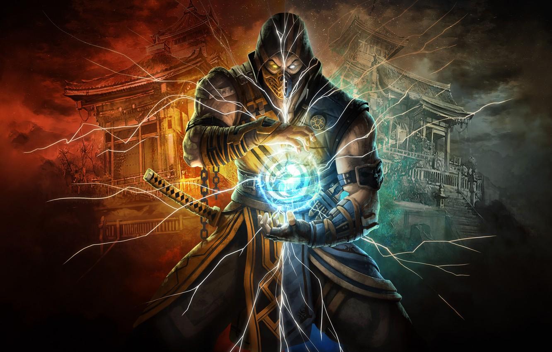Photo wallpaper Figure, Style, Warrior, Background, Scorpio, Fighter, Art, Style, Warrior, Mortal Kombat, Mortal Kombat, Scorpion, Fighters, …