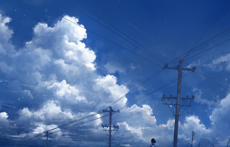 Photo wallpaper the sky, water, schoolgirl, power lines, Axle