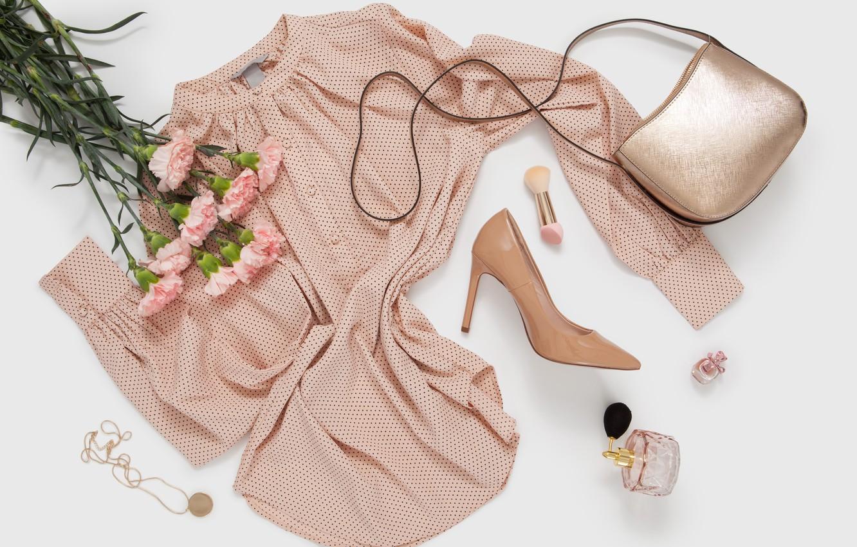 Photo wallpaper flowers, style, dress, bag, cosmetics, perfume, Dress