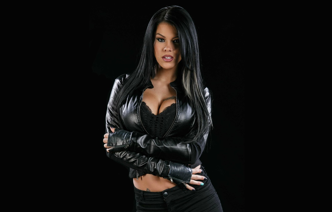 Photo wallpaper leather, figure, brunette, jacket, black, girl, hot, Peta Jensen, Peta Jensen