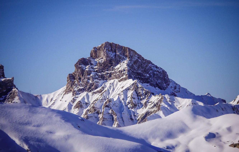 Photo wallpaper winter, the sky, snow, landscape, nature, mountain, top