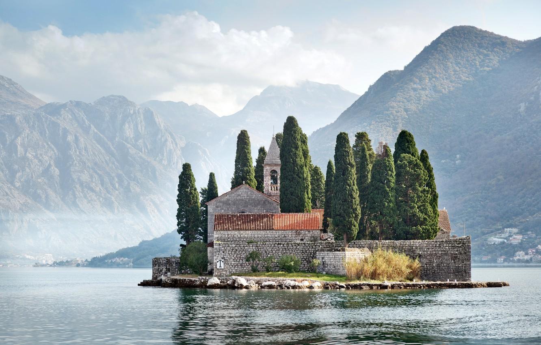 Photo wallpaper trees, mountains, rocks, home, Bay, island, Montenegro, Kotor bay, Perast